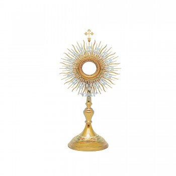 Monstrance in Gold and Silver Finish with Clear Stones