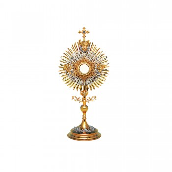 Gold and Silver Plated Monstrance with Holy Trinity Symbols