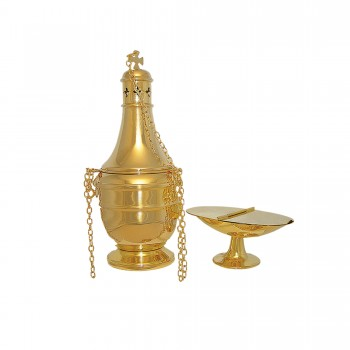 Gold Plated Brass Censer, Boat and Spoon
