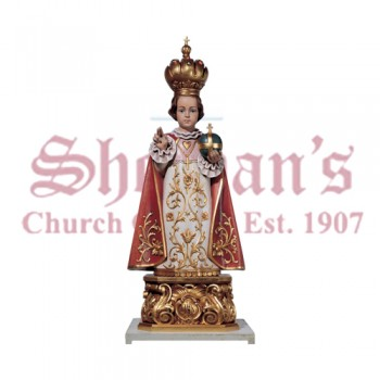 Infant of Prague Carved Linden Wood Statue