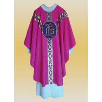 Semi-Gothic Rose Chasuble with IHS Embroidery