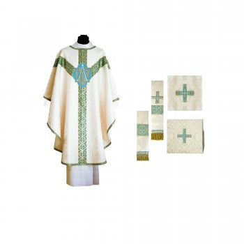 Traditional Semi-Gothic Marian Chasuble Set
