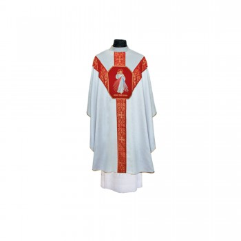White Brocade Chasuble with Divine Mercy Embroidery - Out of Stock Until April