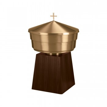 Baptismal Font with Wood Base
