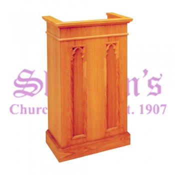 Lectern with Gothic Arches and Two Inside Shelves