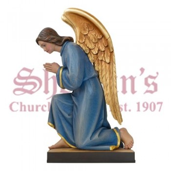 Wood Carved Kneeling Angel Facing Left