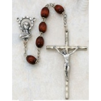 Brown Wood Rosary with Metal Crucifix