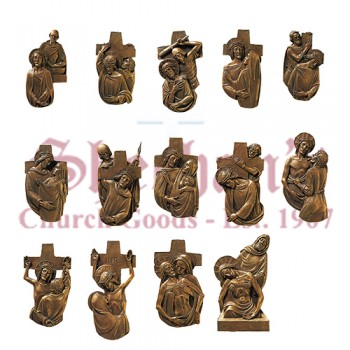 14 Stations Of The Cross with Bronze Alloy Castings