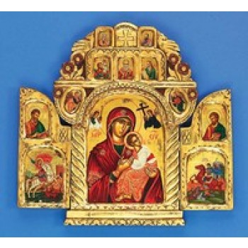Gold Leaf Triptych Our Lady of Perpetual Help