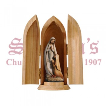 Our Lady Of Lourdes And Bernadette Modern Style In Niche Wood Carve Statue