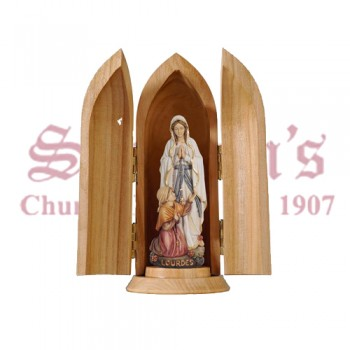 Our Lady Of Lourdes And Bernadette In Niche Wood Carve Statue