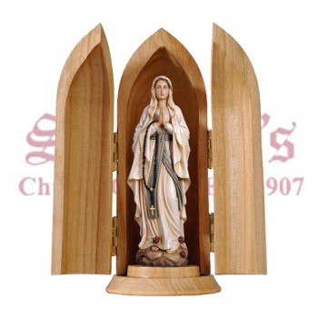 Our Lady of Lourdes Wood Carve in Nische