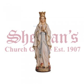 Madonna Lourdes With Crown Wood Carve Statue