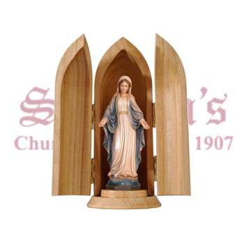 Our Lady Of Grace In Niche Wood Carve Statue