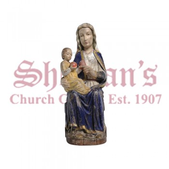 Our Lady Of Mariazell Sitting Wood Carve Statue