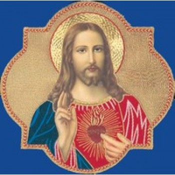 Sacred Heart of Jesus Hand Embroidered Gold Metallic Applique