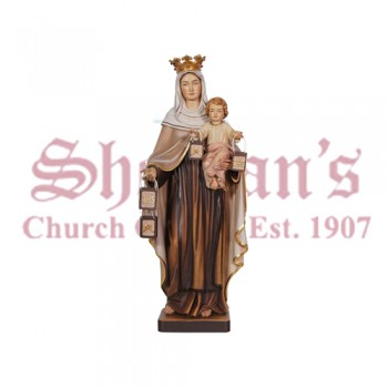 Our Lady Of Mount Carmel Wood Carve Statue