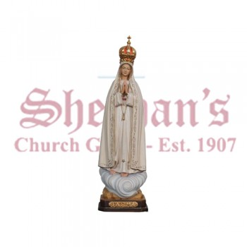 Our Lady Of Fatima Capelinhe With Crown Wood Carve Statue