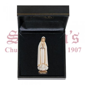 Our Lady of Fatima Mini Wood Carve with Case