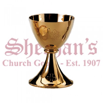 Chalice of modern style in gold plated brass