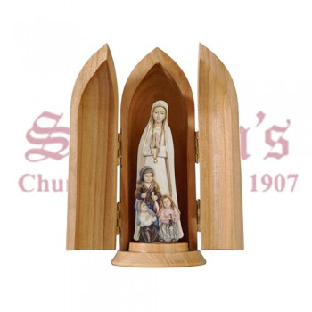 Madonna Fatima With Little Shepherds In Niche Wood Carve Statue