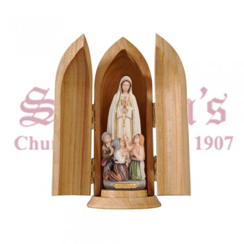 Madonna Fatima With Little Shepherds In Plinth and Niche Wood Carve Statue