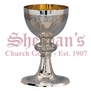 Artistic Silver Chalice and Dish Paten