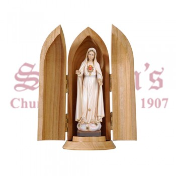Immaculate Heart Of Mary In Niche Wood Carve Statue