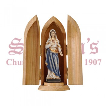 Sacred Heart Of Mary In Niche Wood Carve Statue