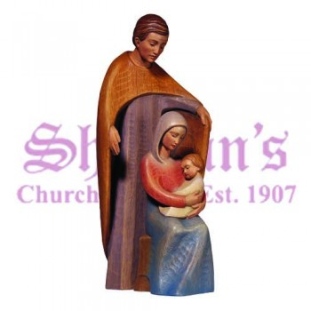 Holy Family in Carved Limba Wood
