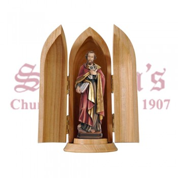 St. Peter In Niche Wood Carve Statue
