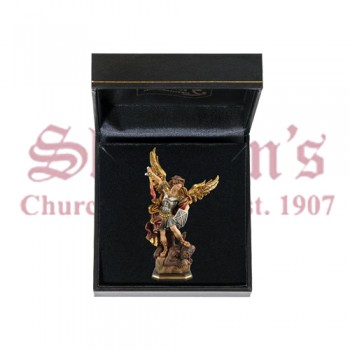 Mini Saint Michael Wood Carve with Case