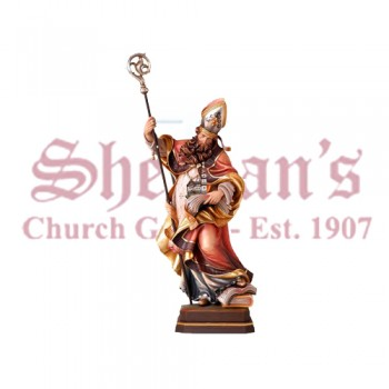 St. Gebhard With Church Wood Carve Statue