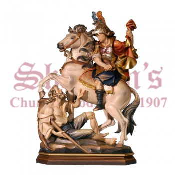 Martin of Tours on Horse Wood Carve Statue