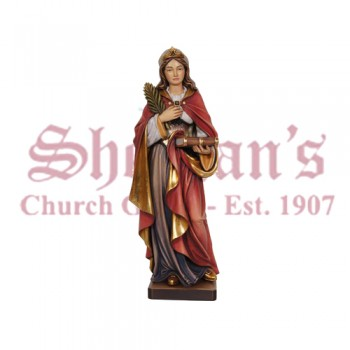 Holy Female Figure With Palm And Book Wood Carve Statue
