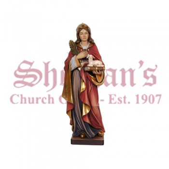Holy Female Figure With Palm, Book And Attribute Wood Carve Statue