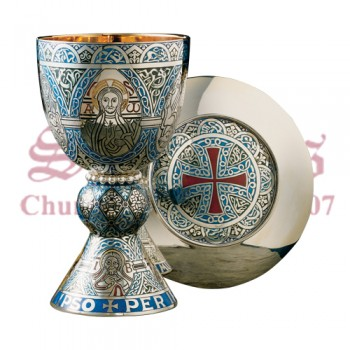 Fire Enamel Tassilo Chalice and Paten