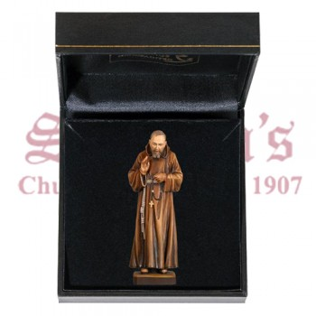 Padre Pio Wood Carve with Case