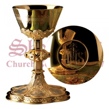 Chalice with Engraved Stem and Paten