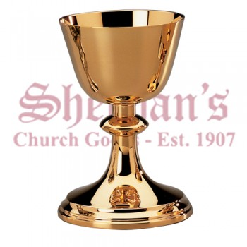 Cross on base Gold Plated Chalice and Scale Paten