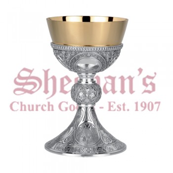 Chalice and Dish Paten with Romanesque Design