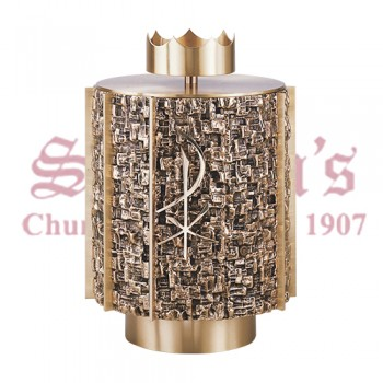 Round Tabernacle with Chi-Rho Symbol in Statuary Bronze Finish