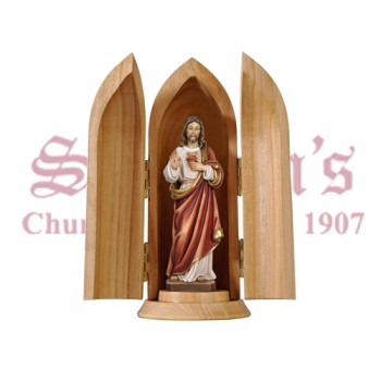 Sacred Heart Of Jesus In Niche Wood Carve Statue