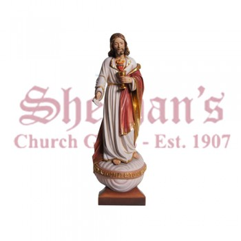 Sacred Heart Of Jesus With Host Wood Carve Statue