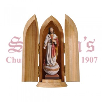 Sacred Heart Of Jesus With Host In Niche Wood Carve Statue