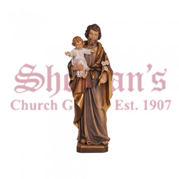 St. Joseph With The Child Wood Carve Statue