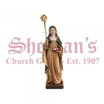 Nun With Crosier Wood Carve Statue
