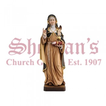 St. Gertrude With Feather Wood Carve Statue