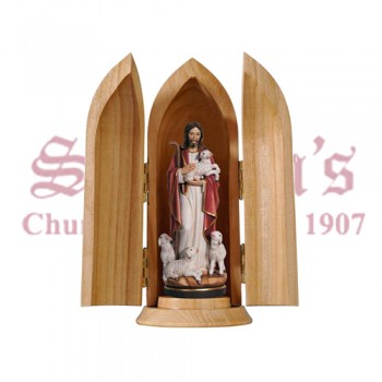 Jesus The Good Shepherd In Niche Wood Carve Statue