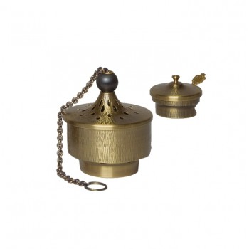 Censer and Boat in Antique Brass Finish